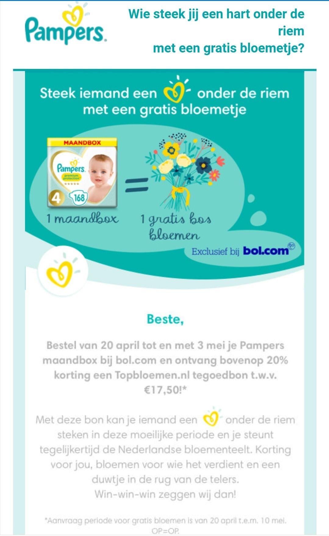 1 maandbox Pampers @ Bol.com = 1 bos bloemen @ Topbloemen.nl