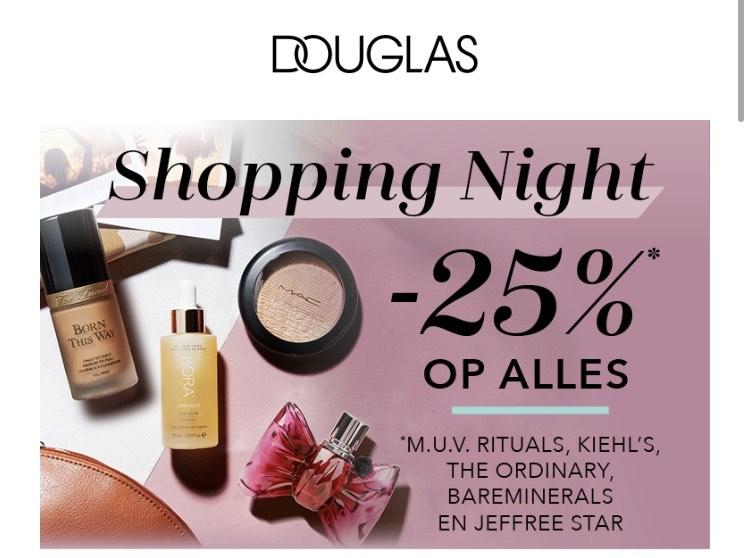 25% korting op alles* Shopping night @Douglas