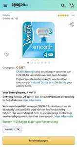 Gillette Venus Smooth 4 stuks €6,67 @ Amazon.de