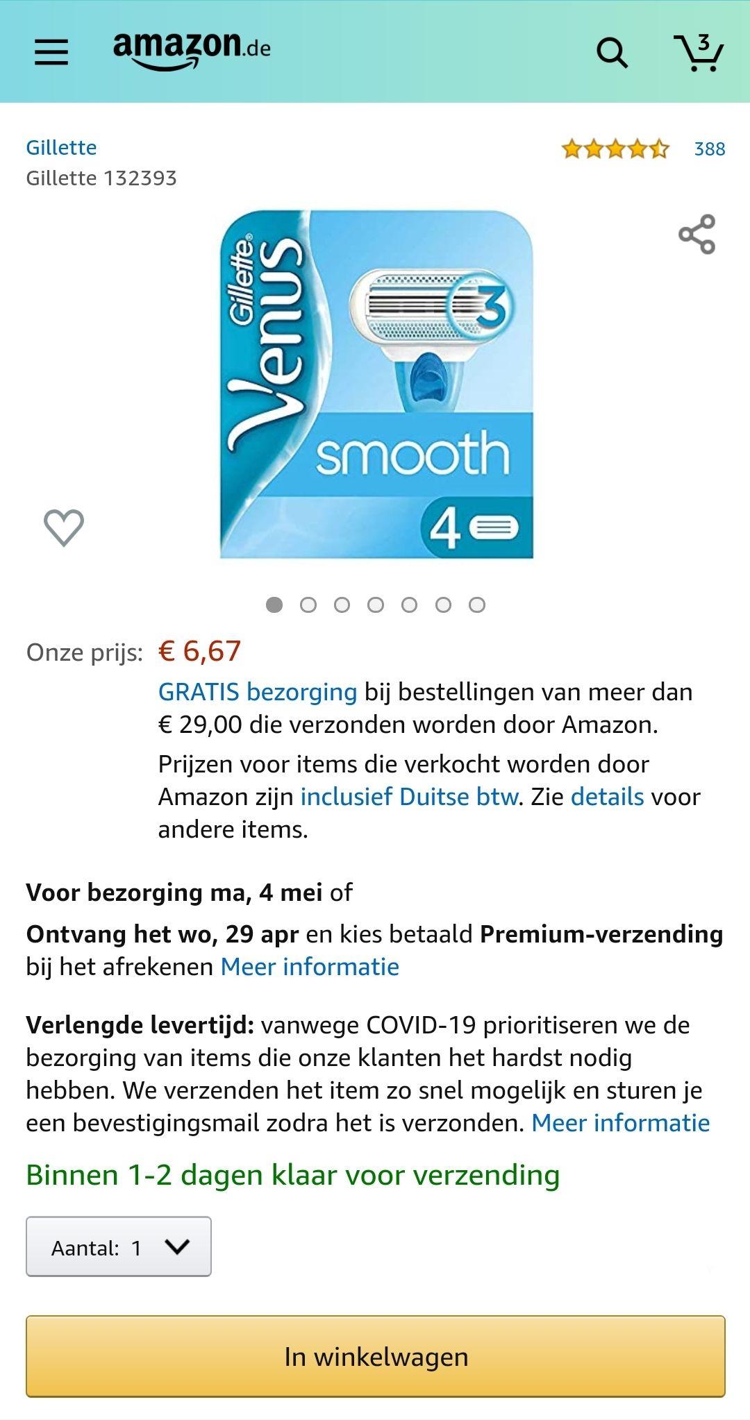 Gillette Venus Smooth 4 stuks €6,67 @ Amazon.de