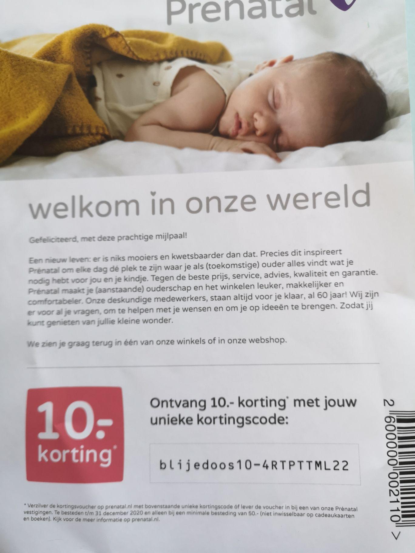 10 euro korting bij Prenatal