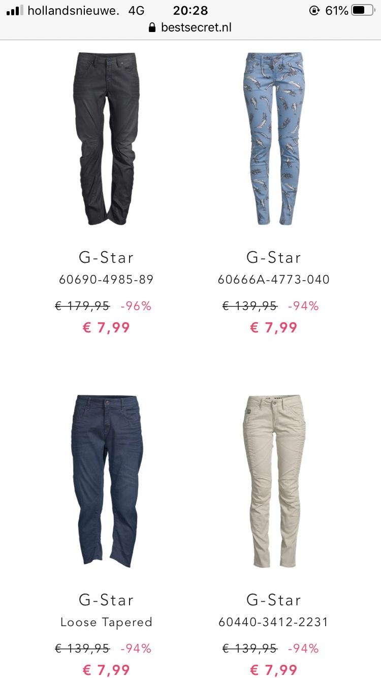 G-Star dames- en herenbroeken voor €7,99: alleen laatste kleine maten (W24-W28)