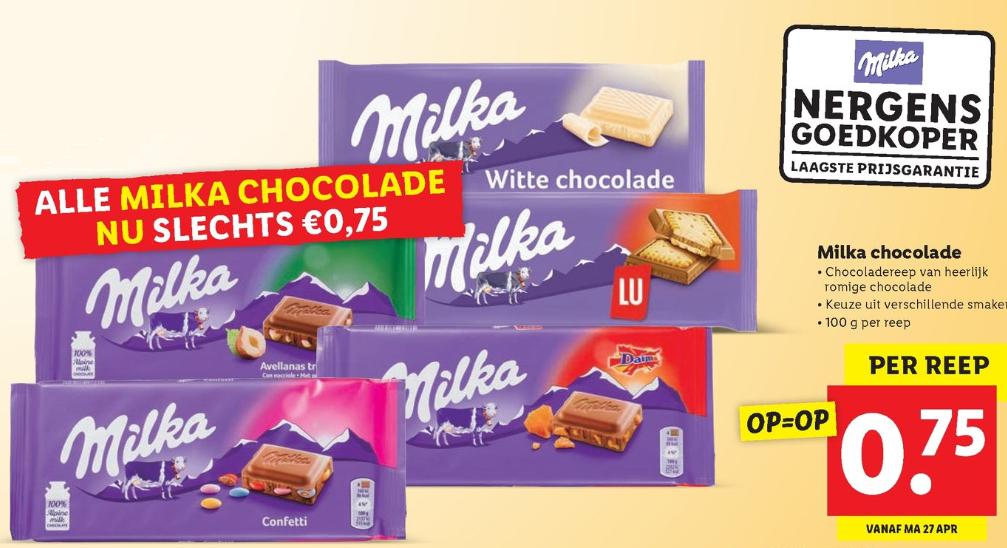 [Vanaf maandag] Alle Milka chocolade voor 75 cent per stuk bij Lidl, 100 g per reep