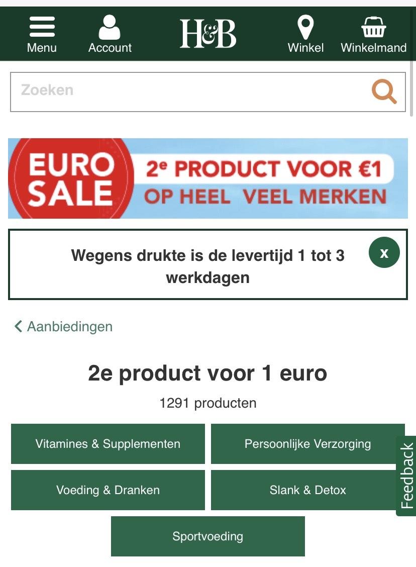2e product voor €1,00 bij Holland & Barrett
