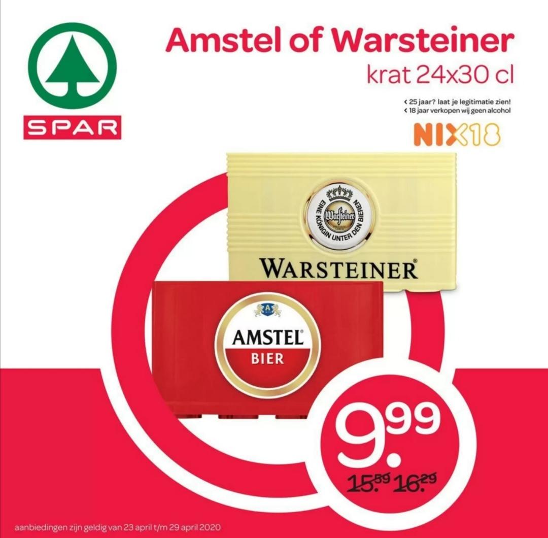 Krat Amstel of Warsteiner @ Spar