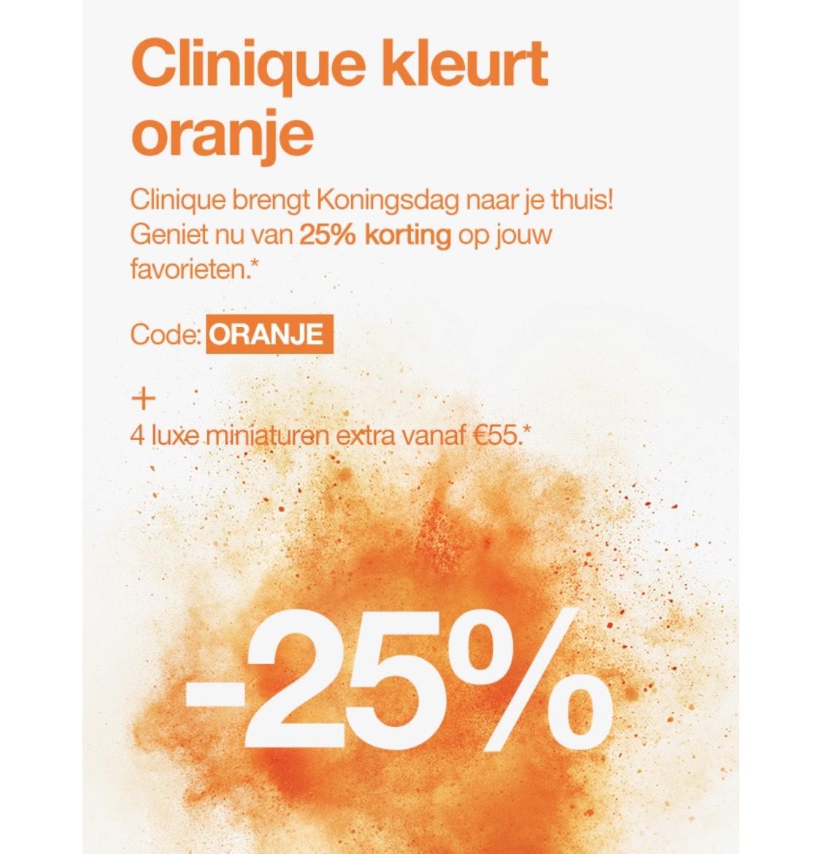 25% korting bij Clinique op Koningsdag
