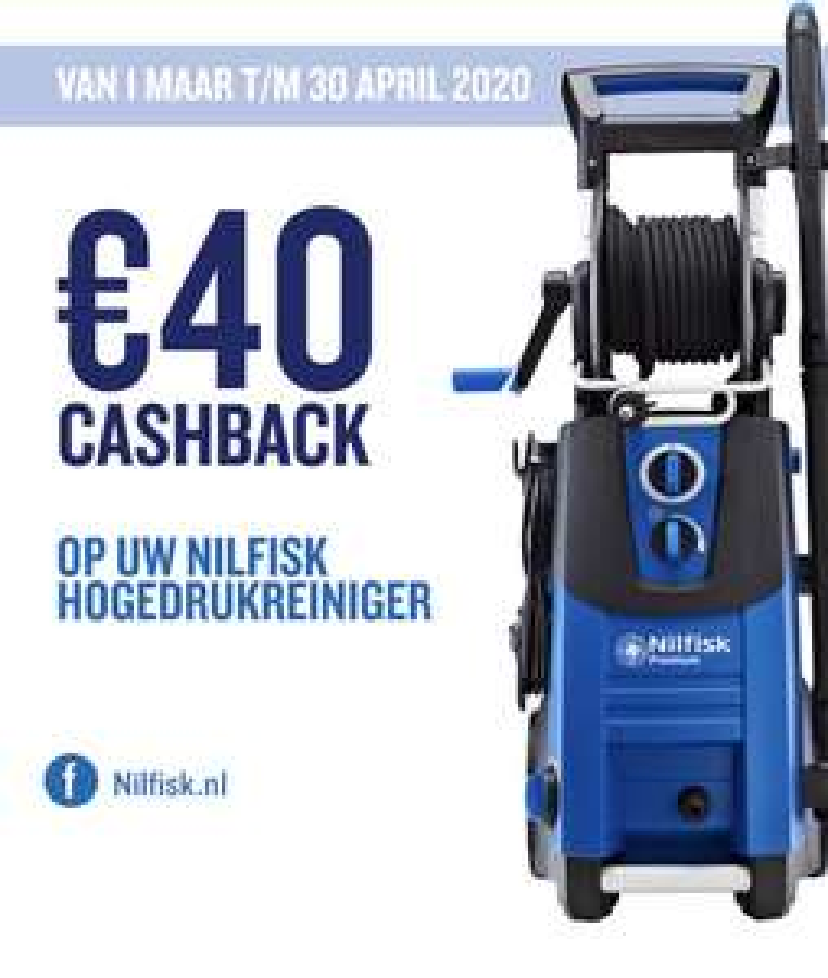 Tot 40 euro cashback op Nilfisk hogedrukreinigers