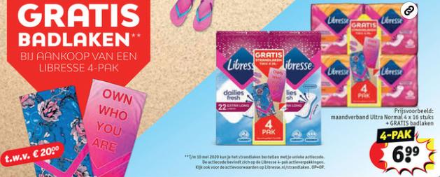 Kruidvat: gratis badlaken bij 4pak Libresse (prijsvoorbeeld: €6,99)
