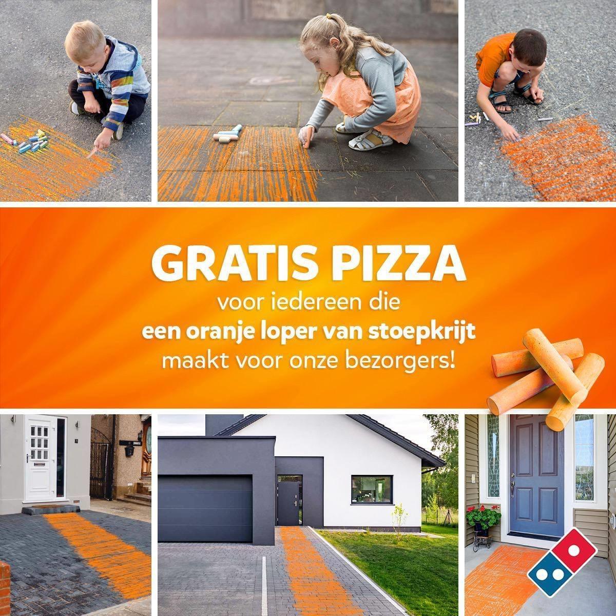 Gratis pizza voor iedereen die oranje loper maakt met stoepkrijt