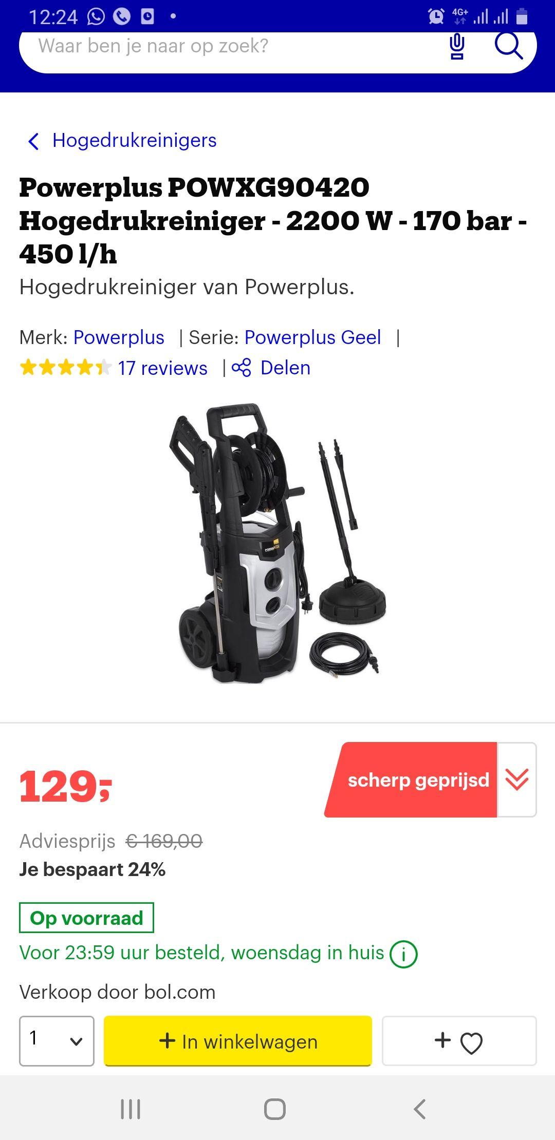 Powerplus POWXG90420 Hogedrukreiniger - 2200 W - 170 bar - 450 l/h