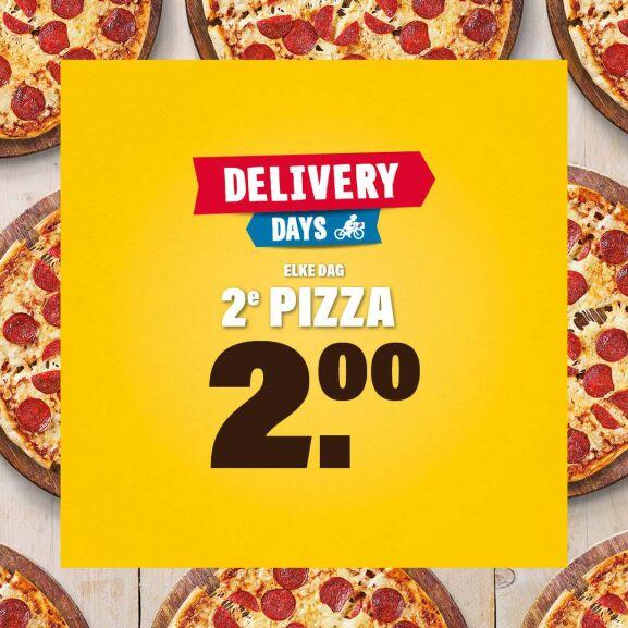 De hele week 2e pizza 2 euro bij Domino's