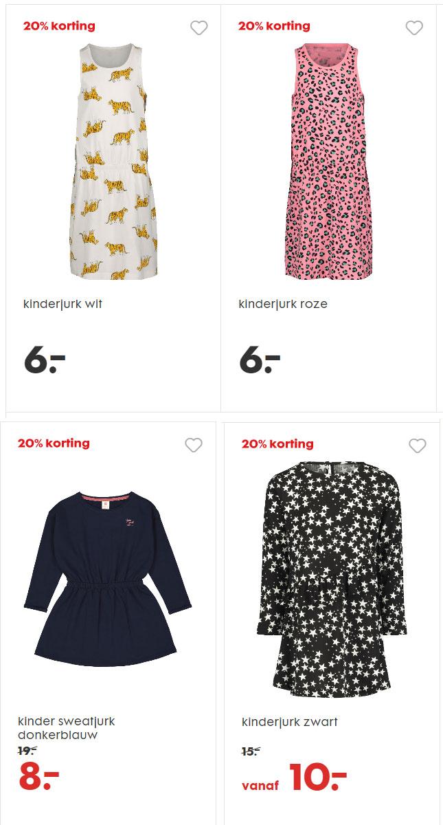 Meisjes jurken -20% - ook op sale (va €4,80) @ HEMA