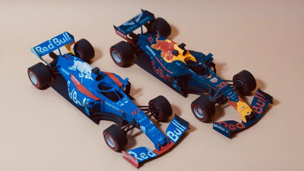 Voor de F1 fans: gratis kleurplaten en papieren modelbouw van Red Bull / Torro Rosso