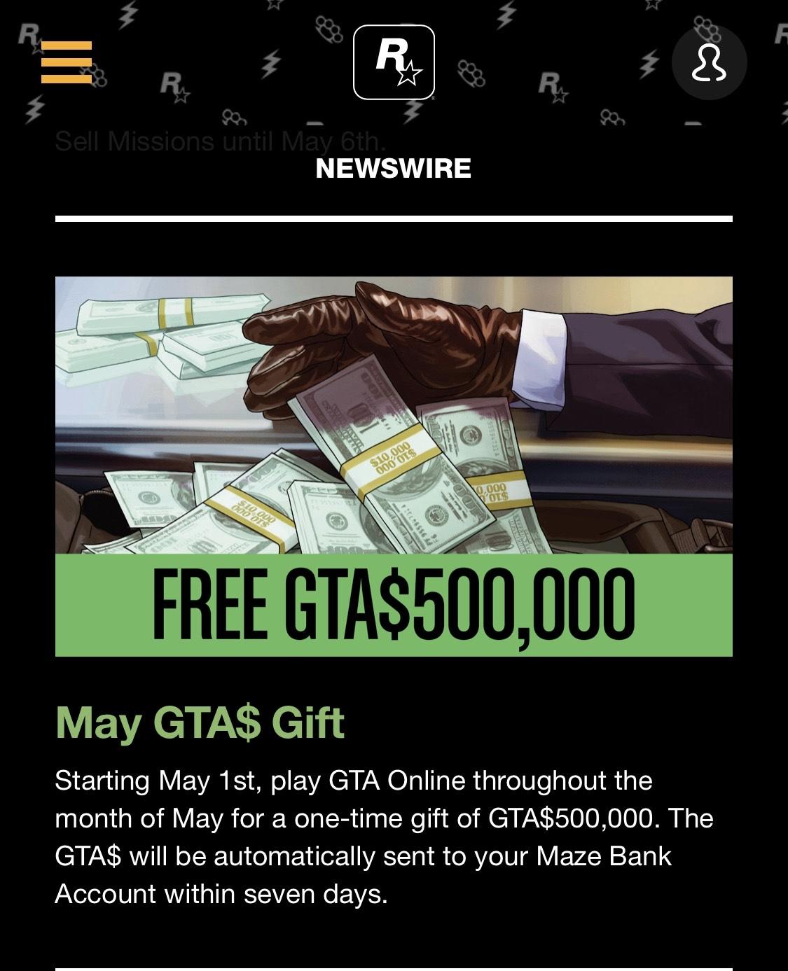Gratis GTA$500K GTA Online Mei