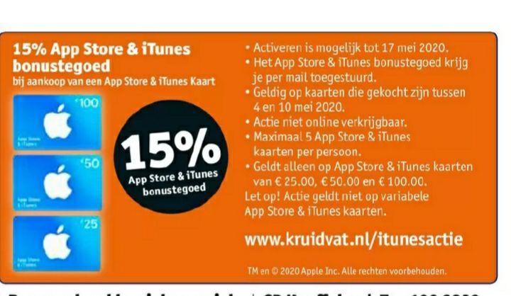 15% extra Appstore & iTunes bonus tegoed @kruidvat