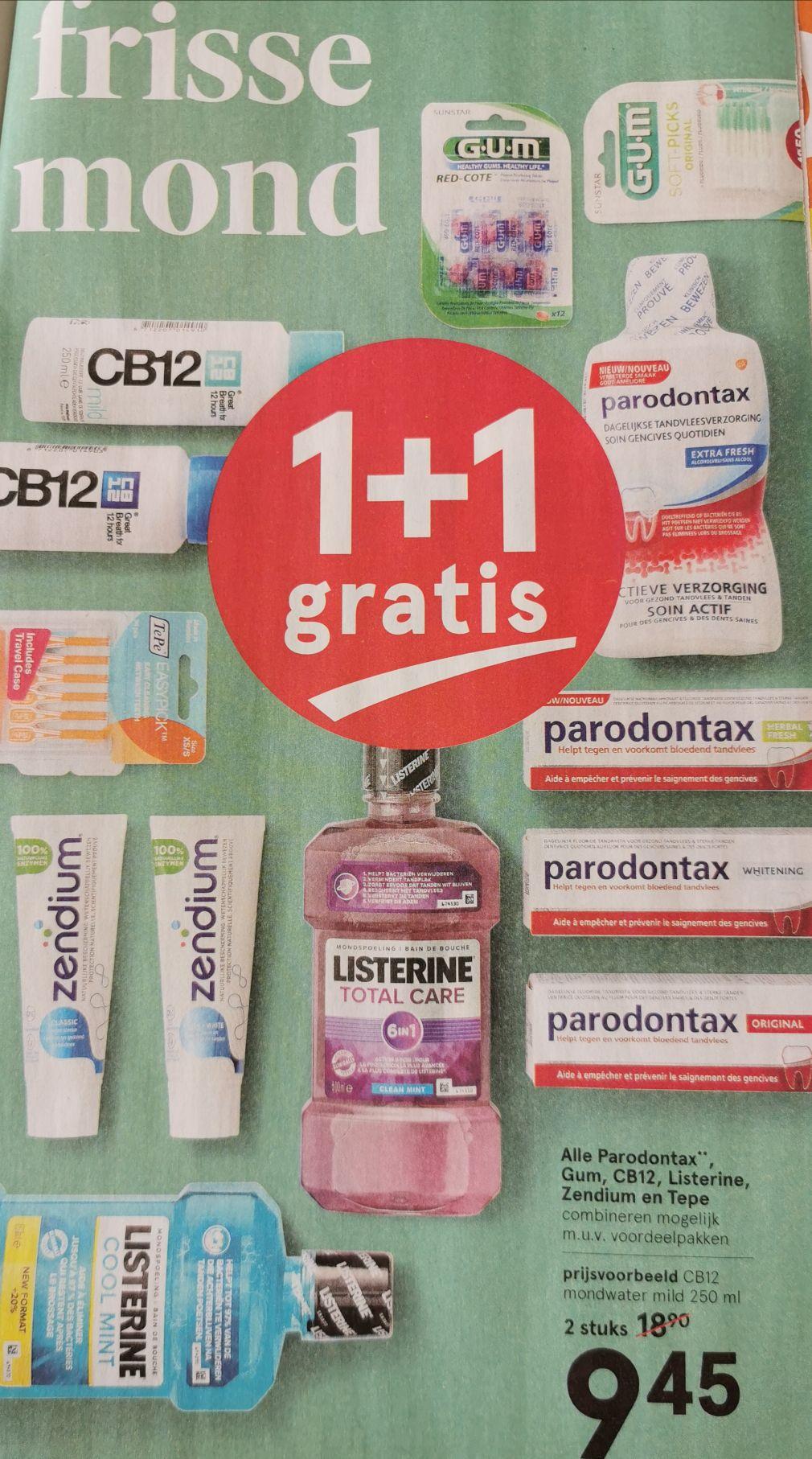 Alle Parodontax, Gum, CB12, Listerine, Zendium en Tepe 1 + 1 gratis @ Etos