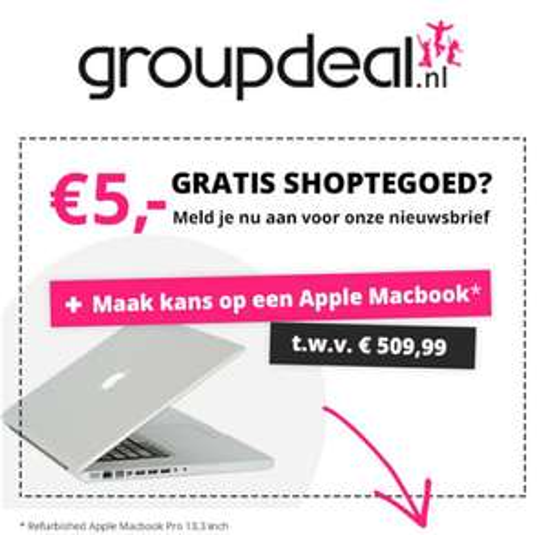 Groupdeal: €5,- gratis shoptegoed