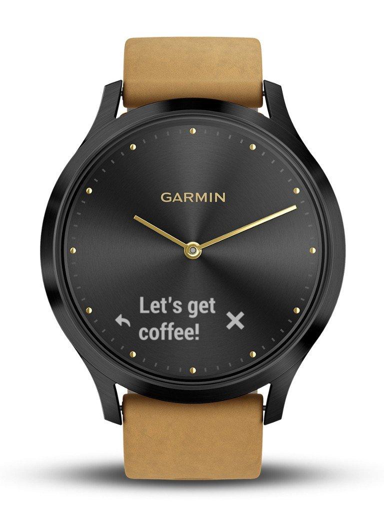 Garmin Vivomove HR Premium Fitness Tracker Smartwatch Zwart/Tan @Bijenkorf