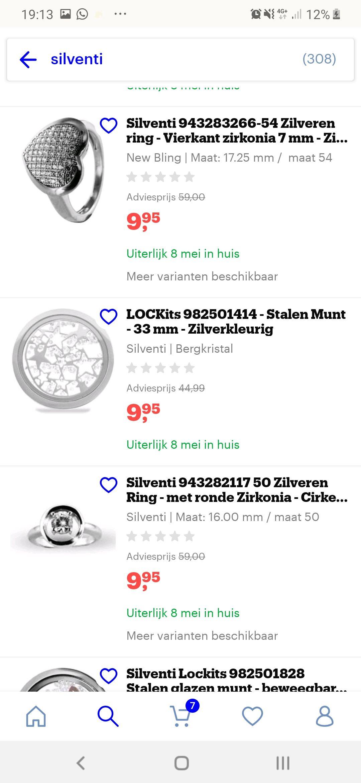 Hoge korting boven de 80% voor silventi sieraden op bol.com