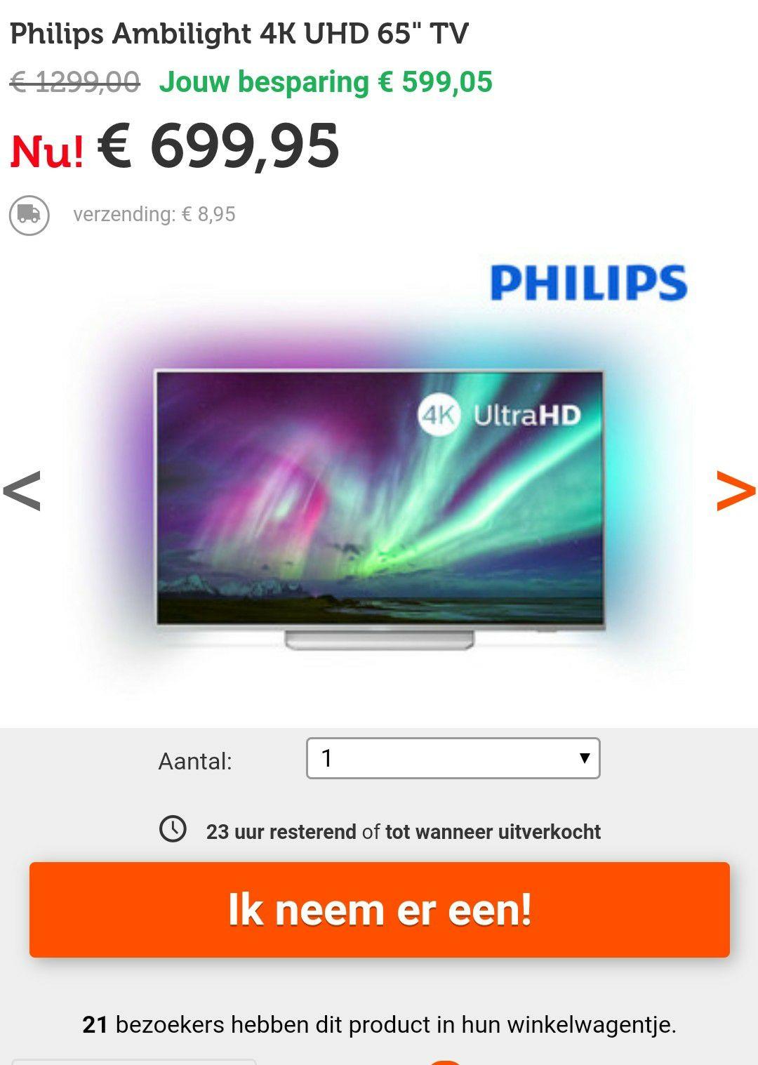 65 inch Philips Ambilight 4K UHD TV