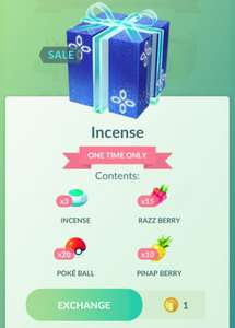 Pokémon Go 3x incense, 15x Razz berries, 20x Pokeballs en 10x Pinap berries voor 1 poke coin