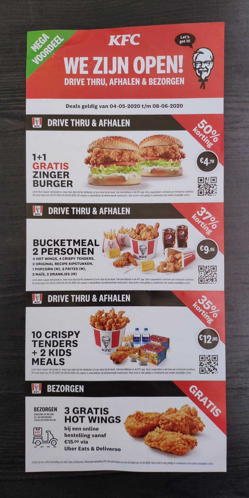 Zinger burger 1+1 gratis met de KFC app / QR code (+2 andere acties)