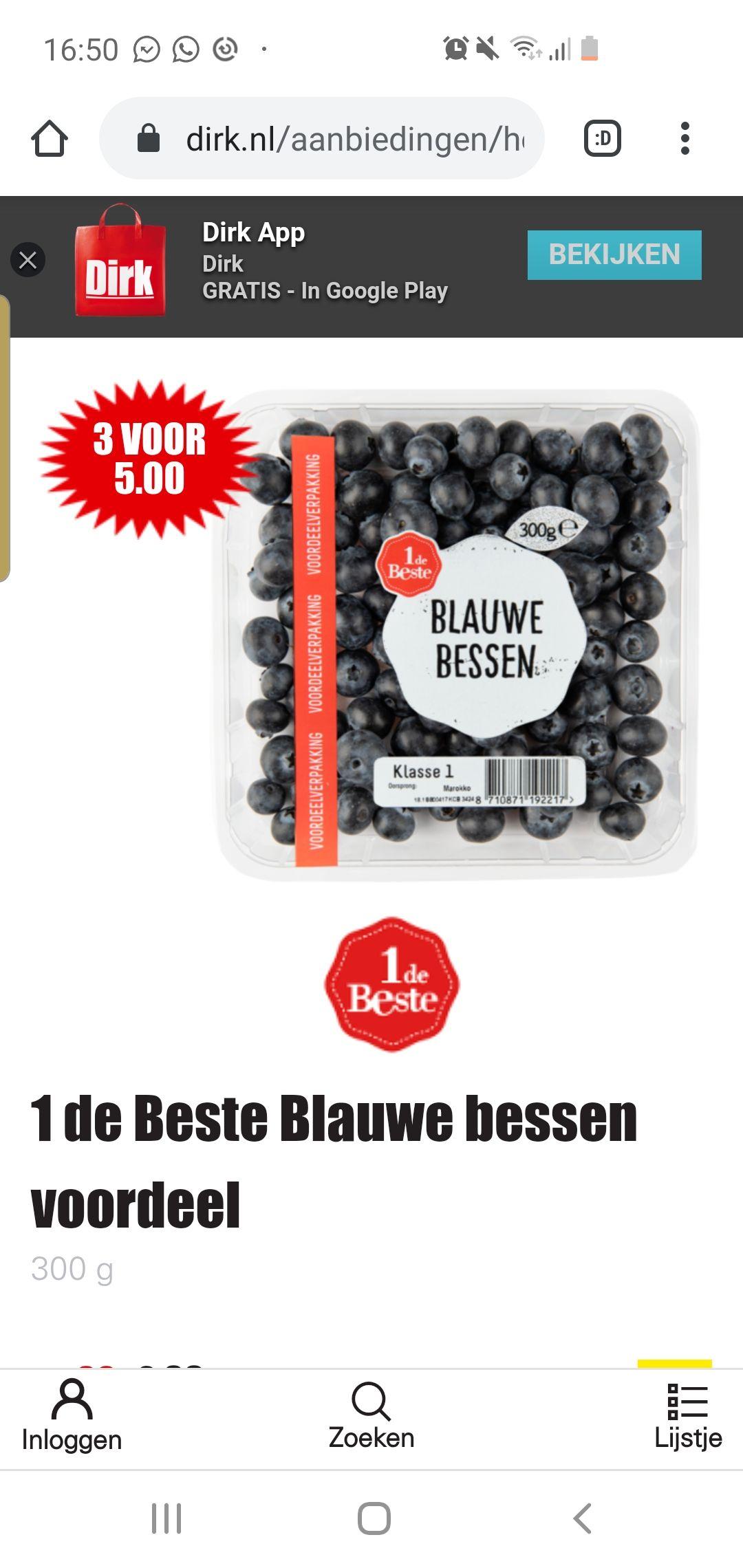 900 gram blauwe bessen voor 5 euro