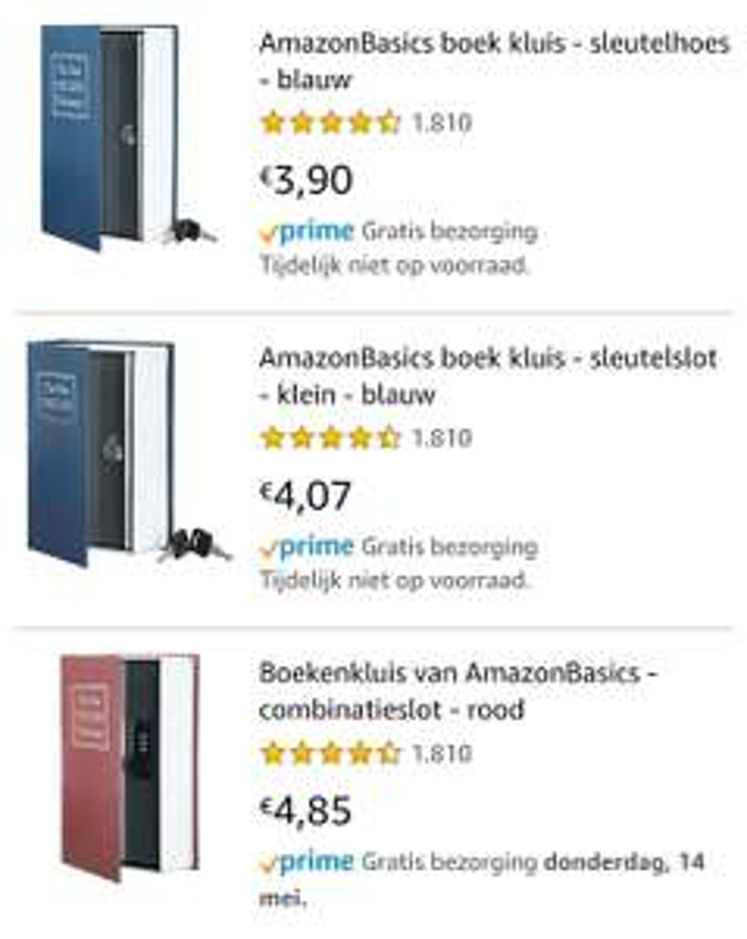 Boek kluis v.a. €3,90 @ Amazon.nl