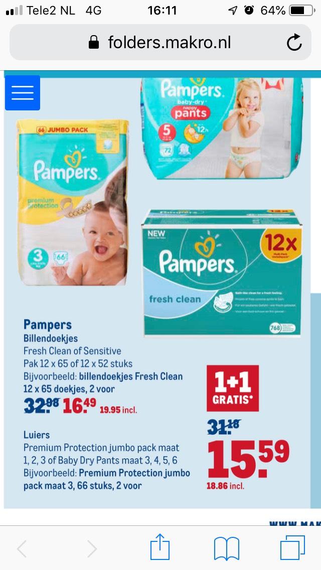 1+1 Gratis Pampers Premium Protection @ Makro