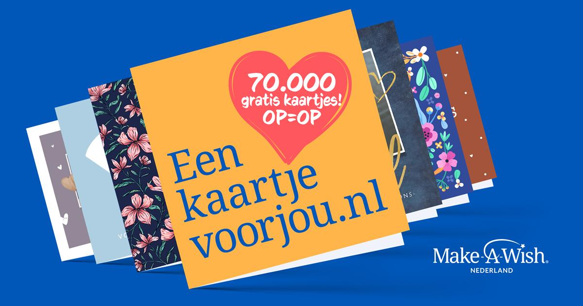 Gratis Make-A-Wish Kaartje Versturen t.w.v. € 3,90 (inclusief postzegel)