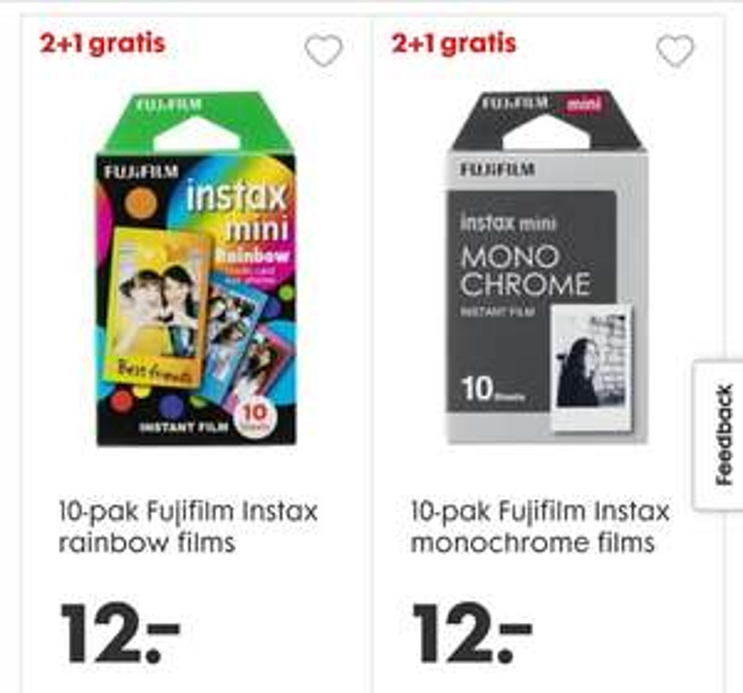 2+1 gratis op alle Instax Mini Film