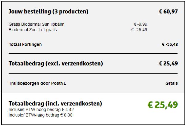 Biodermal 1+1 + sun lipbalm gratis @Kruidvat