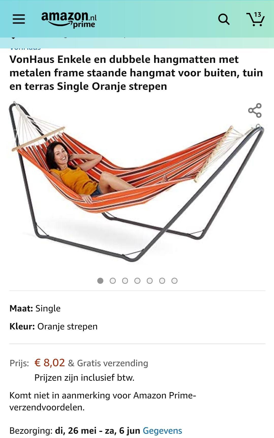 {Prijsfout?} Hangmat incl. frame €8,02 @ Amazon.nl