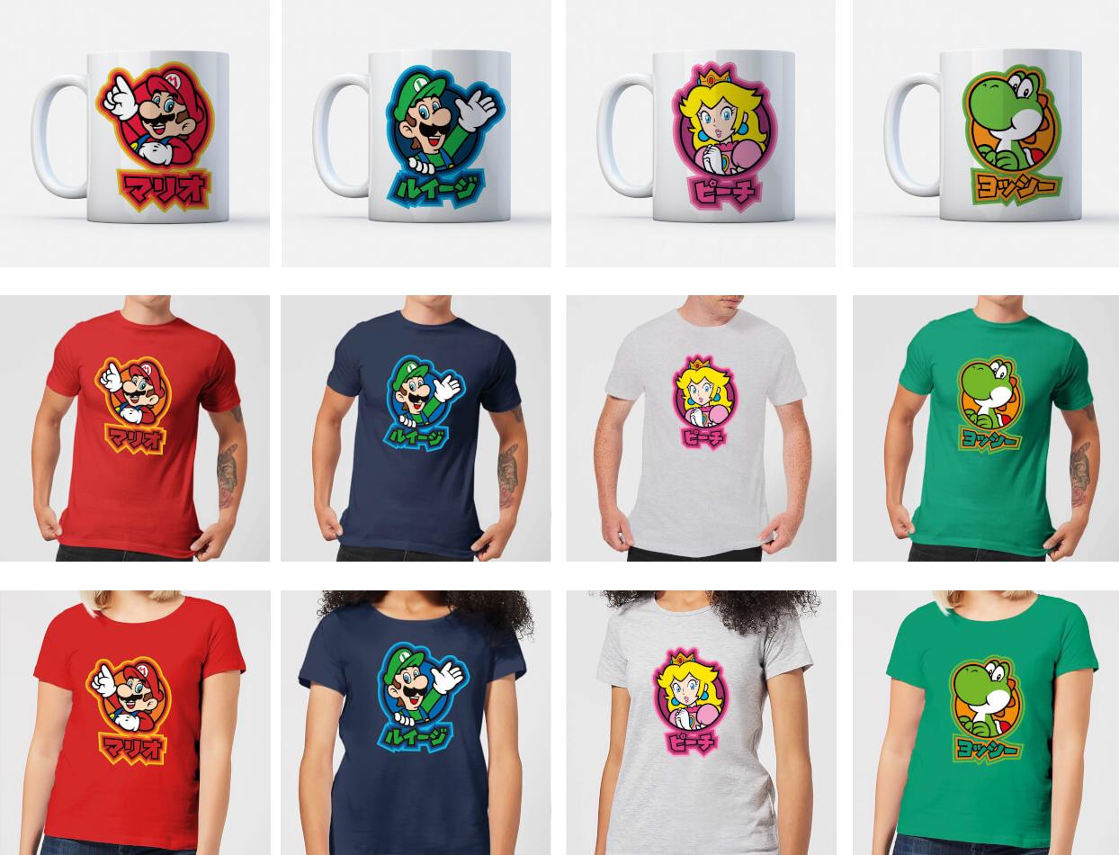 Nintendo mok + t-shirt Mario, Luigi, Peach of Yoshi voor €9,99 @ Zavvi NL