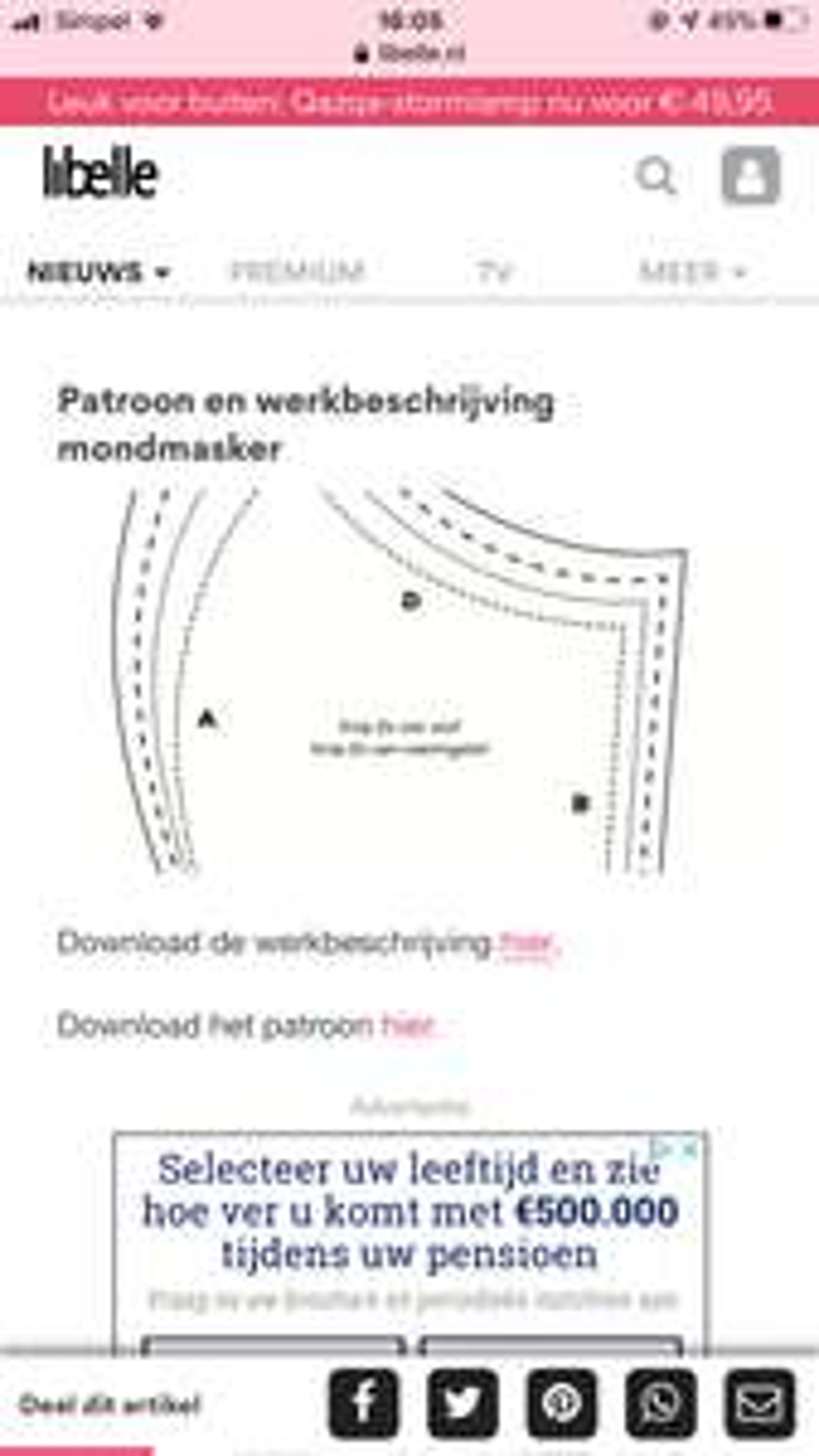 Gratis patroon mondkapjes/mondmasker via Libelle
