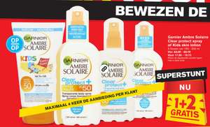 [Hoogvliet] Garnier Ambre Solaire Clear protect spray of Kids skin lotion 1+2 gratis