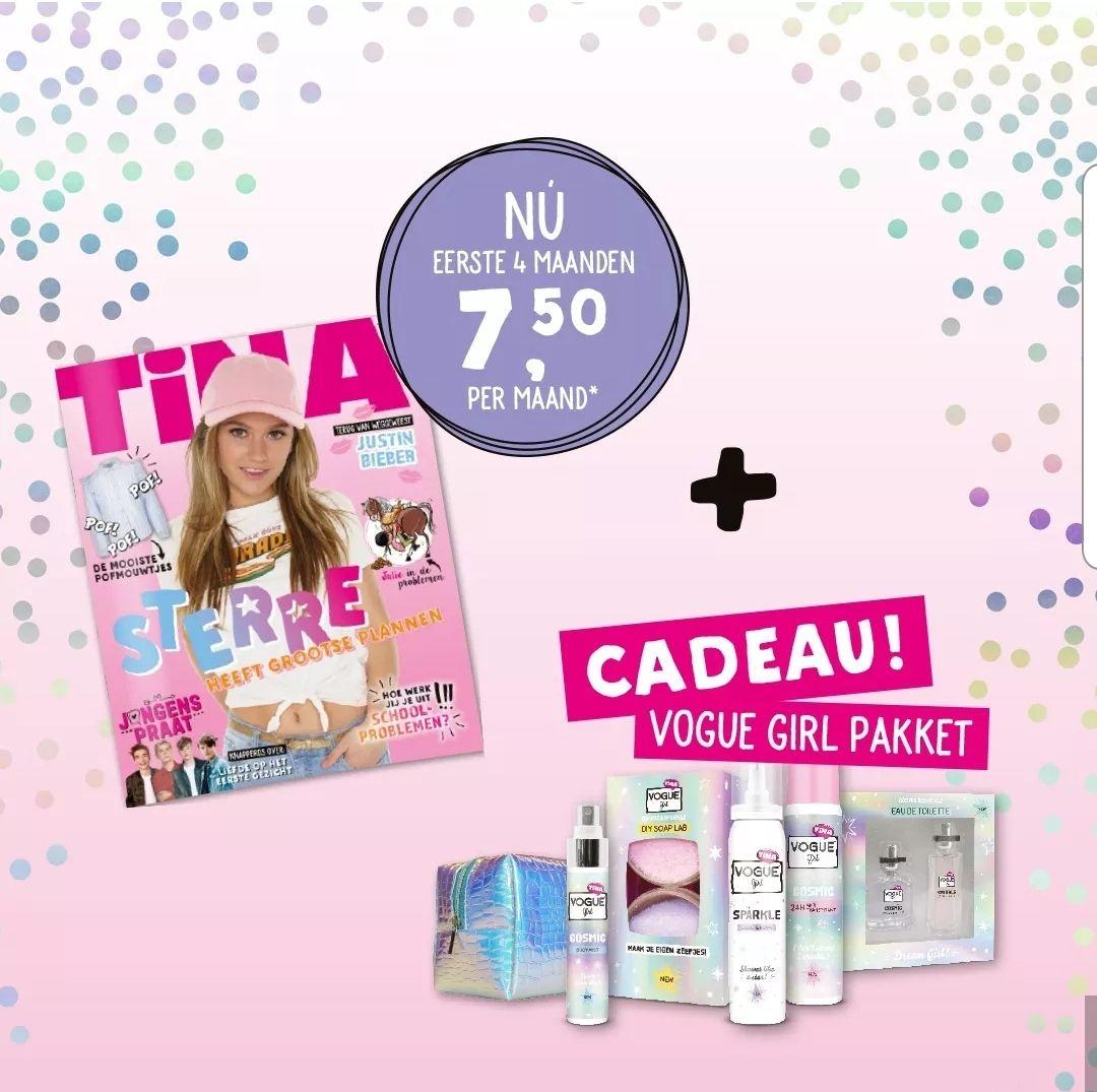 Gratis voguepakket bij Weekblad Tina en eerste 4 maanden €7,50pm