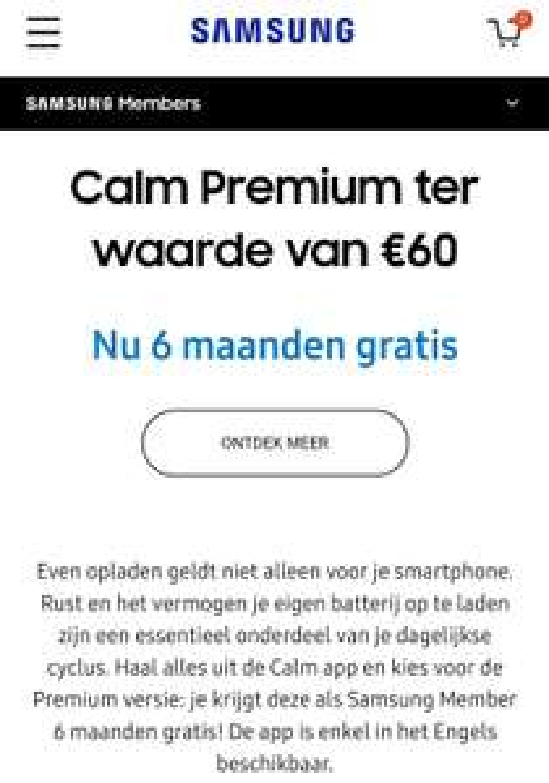 Calm app 6 maanden gratis voor Samsung Members t.w.v. €60