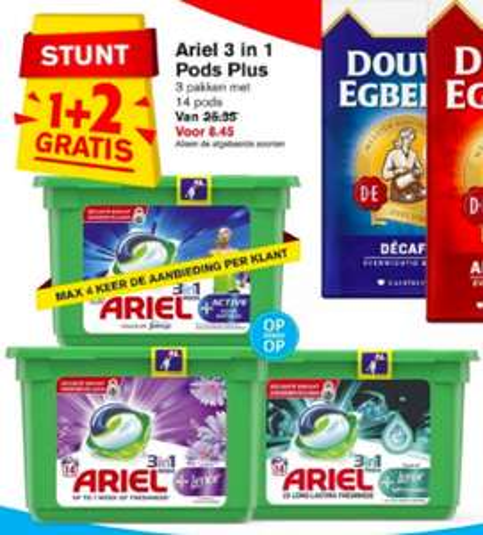 Ariel 3 in 1 pods Lenor, Active of Unstoppables 1+2 Gratis @Hoogvliet