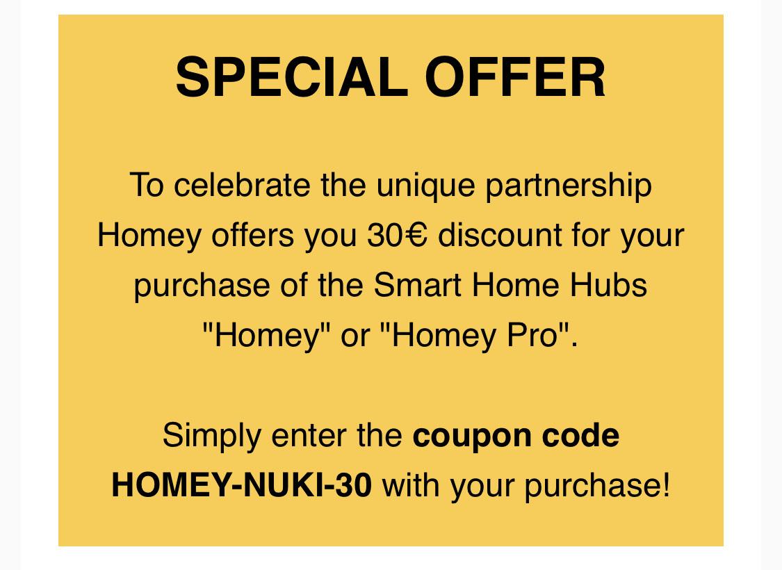€30 korting bij Homey (vanuit Nuki)