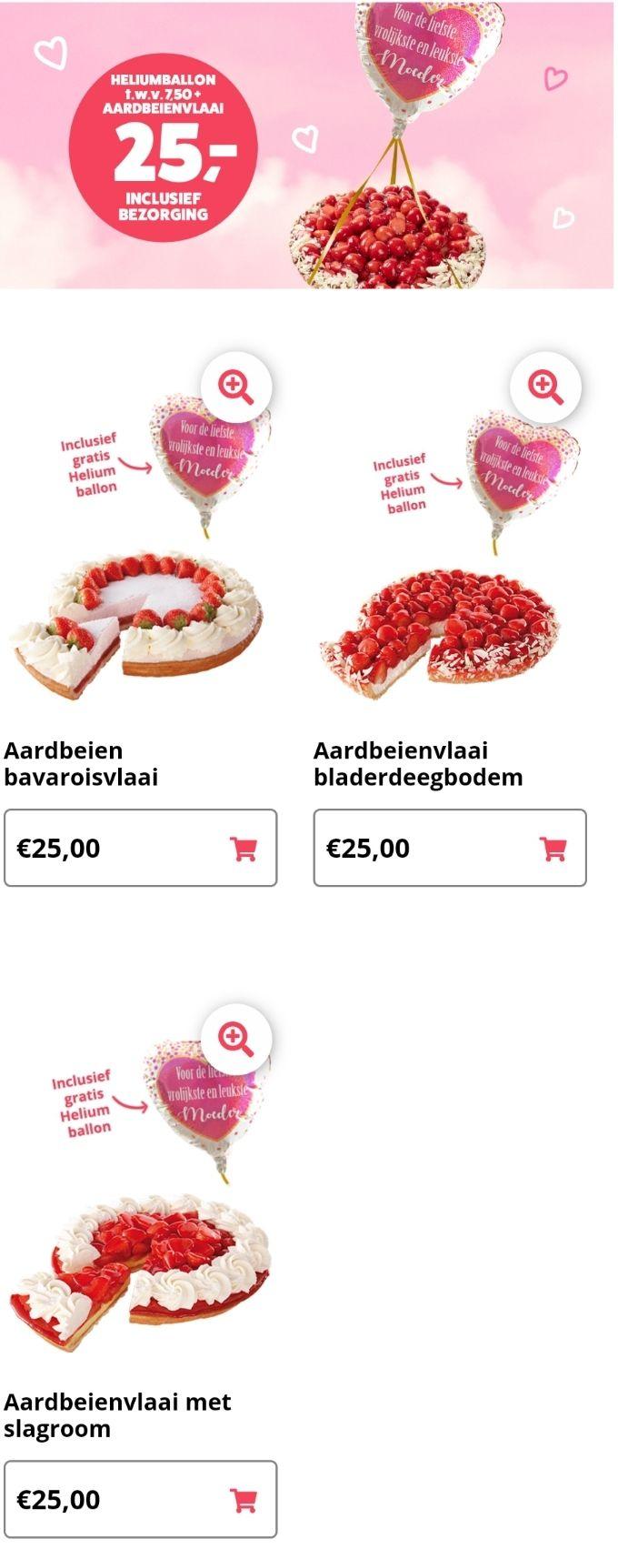 Taart voor moederdag €25 + gratis heliumballon t.w.v. €7,50 (gratis bezorgd) @ Multivlaai