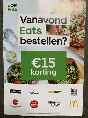 Uber eats 2x7,50 korting of 10%