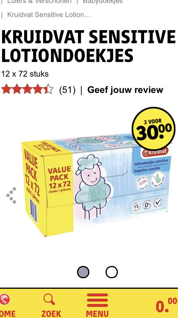 Kruidvat Sensitive babydoekjes 36 stuks