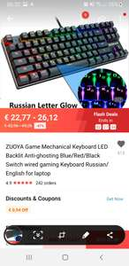 ZUOYA Game Mechanical Keyboard LED Backlit Anti-ghosting Blue/Red/Black Switch wired gaming