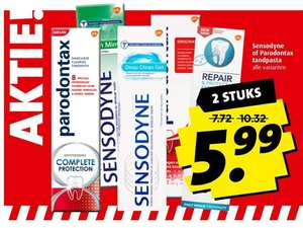 Parodontax en Sensodyne tandpasta 2 stuks voor €5,99 @Boni