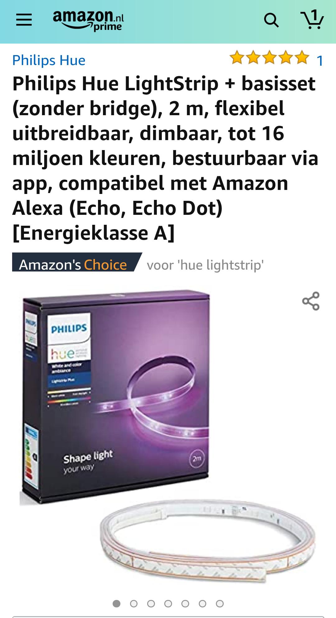 Philips Hue LightStrip + basisset (zonder bridge), 2 m, flexibel uitbreidbaar, dimbaar, tot 16 miljoen kleuren, bestuurbaar via app