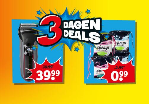 3 Dagen DEALS va €0,99 + Braun scheerapparaat €39,99 - elders va €59 @ Kruidvat