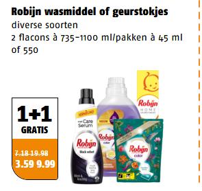 Robijn wasmiddel & geurstokjes 2e gratis @ poiesz