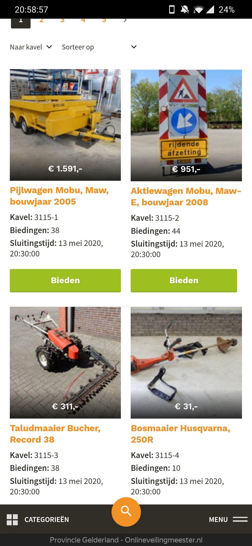 Tekstkar of grasmaaier kopen? Provincie Gelderland houdt opruiming.