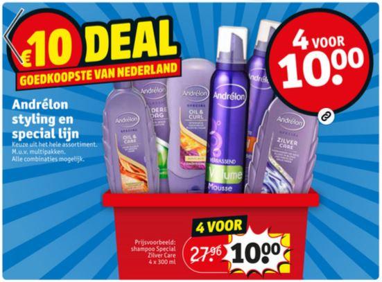 Andrélon styling / special lijn : 4 voor €10 (duurste normaliter €35,16) @ Kruidvat